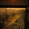 Sunset on Railroad Tracks
